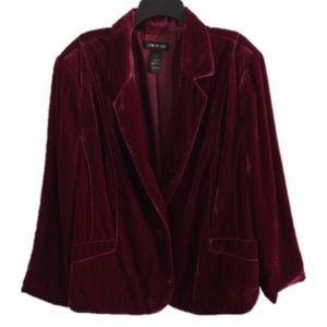 /LANE BRYANT maroon crushed velvet jacket 28